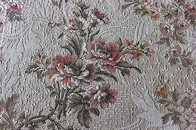 """French Antique c1910-20 Woven Jacquard Tapestry Home Dec Floral Fabric~28""""LX48""""W"""