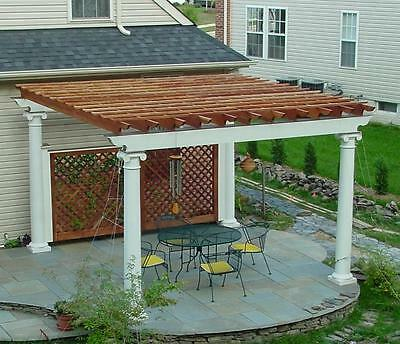Patio or Deck Pergola with Tuscan Column Design 20' x 16' Plans