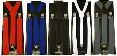 Suspenders Clip On Mens Womens Elastic Y-Shape Braces Adjustable Multiple Colors
