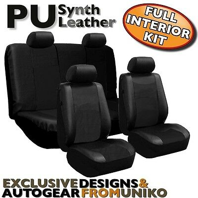 Black PU Faux Leather Car Seat Cover Set Headrests Steering Wheel 13pc CS