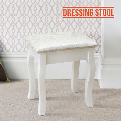 BN Vintage White Dressing Table Stool Padded Chair Makeup Piano Seat