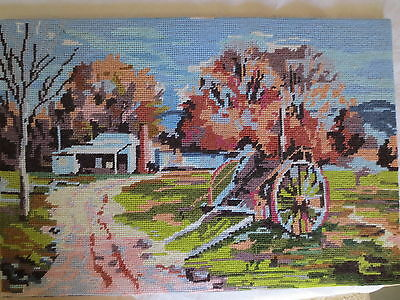 Tapestry Picture Vintage Completed Collection D'art Box 46 Farm & Wagon