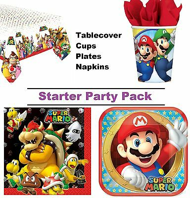 Super Mario 8-48 Guest Starter Party Pack - Cups, Plates, Napkins, Tablecover
