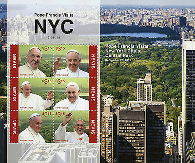 Nevis 2015 MNH Pope Francis Visits New York City Central Park NYC 6v M/S