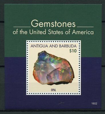 Antigua & Barbuda 2016 MNH Gemstones of United States of America 1v S/S Opal USA