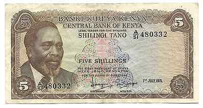 Kenya Banknote 5 Shillings P6b 1971 VF++ Letter A Rare Africa Bargain Old Note