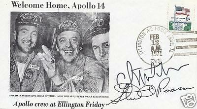 Edgar Mitchell & Stuart Roosa Apollo 14 Signed Postal Cover  - Uacc Autograph