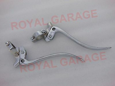 "Universal Vintage Bikes Brass Chrome Brake And Clutch Levers 7/8"" Inch Handlebar"