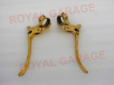 "New Universal Vintage Bikes Solid Brass Brake & Clutch Levers 1"" Inch Handle Bar"