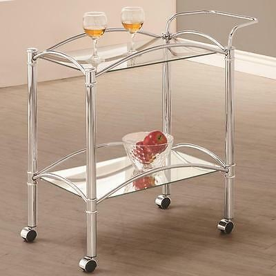 Chrome Serving Cart with Mirrored Bottom Shelf and Casters by Coaster 910077