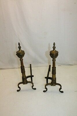 Beautiful Antique Pair of Regency Style Brass Andirons, 19th Century