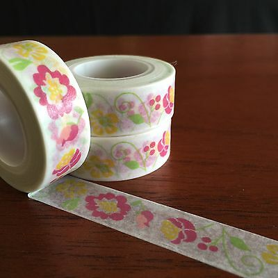 Washi Tape Floral Parade 15Mm Wide X 10Mtr Roll Scrap Craft Wrap Plan