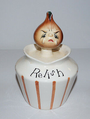 1950's Lefton #1481 Pixieware Relish Jar with Crying Onion Head Lidded Spoon
