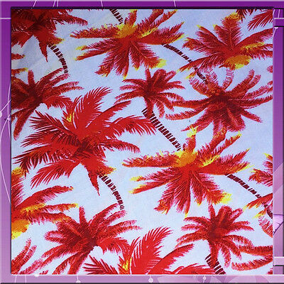 100 Rayon Challis Tropical Palm Tree 58 Wide Fabric Red Sold By The Yard