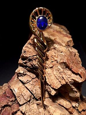 Fathers Day Special Australian Opal Triplet Brooch or Kilt Pin Gold Plated