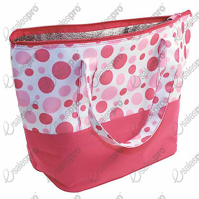 Beach Bag - Large Spotty Thermal Lining Zip Closure Double Handles.