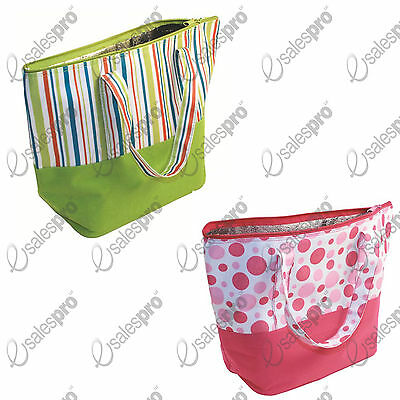 Beach Bags - Large / Thermal Lining Zip & Handles - choice Spotty or Stripey