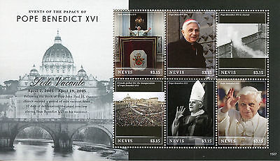Nevis 2015 MNH Events Papacy Pope Benedict XVI Sede Vacante 6v M/S Popes