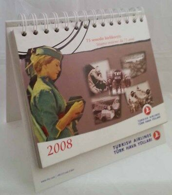 THY TURKISH AIRLINES 2008 DESK CALENDAR 75° anniversary original company issue