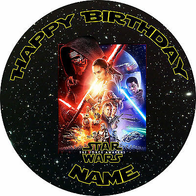 Star Wars Personalised Edible Icing Cake Decoration Topper Round Party Image