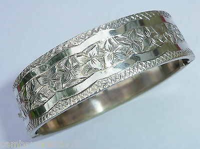 Antique Victorian Silver Plated Engraved Hinged Bangle, Bracelet
