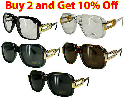 31716f4c18b2 Black Clear frame Sun Glasses Gazelle Style Gold Metal Accents Dmc Square