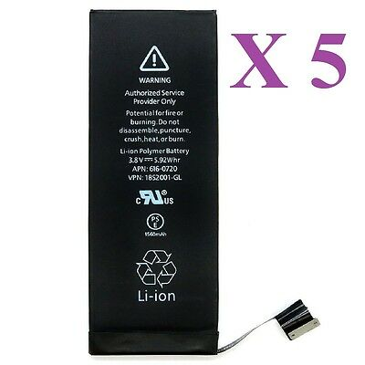 Lot of 5 New 1560 mAh Li-ion Internal Battery Replacement for Apple iPhone 5S 5C