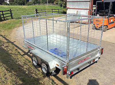 8x5 TWIN AXLE UNBRAKED,CAGED,BOX TRAILER,