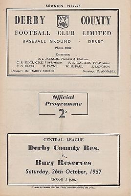 DERBY COUNTY v BURY RESERVES ~ 26 OCTOBER 1957