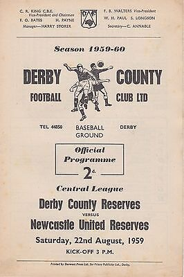 DERBY COUNTY v NEWCASTLE UNITED RESERVES 22 AUGUST 1959 DERBY + NEWCASTLE AUTOS