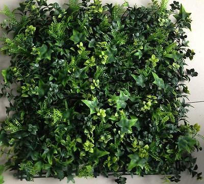 Vertical Green Wall Artificial Instant Hedge Plants 50x50cm Tiles Ex Quality New