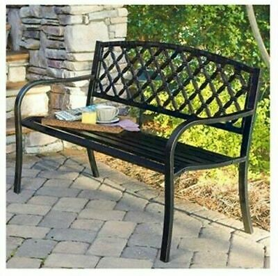 Imperial IP-SV131FB Lattice Panel Steel /Cast Iron Frame Garden Park Bench