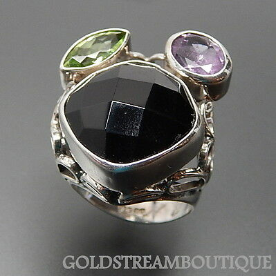 925 Silver Faceted Black Onyx Marquise Peridot Oval Amethyst Ring Size 7.75 1868