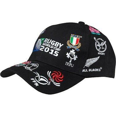 Official Rugby World Cup 2015 20 Nations Baseball Cap Black (One Size Adults)