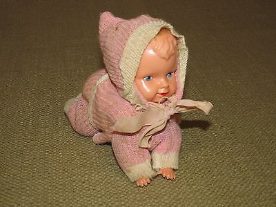 Vintage Crawling Baby Girl Doll Celluloid Wind Up in Pajamas FREE US SHIPPING