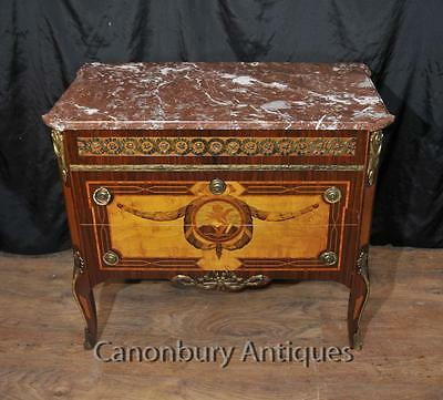 Antique French Commode Marquetry Inlay Chest Drawers Empire