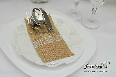 25 x Wedding Cutlery Holders Burlap / Hessian Table Decor Centrepieces Party