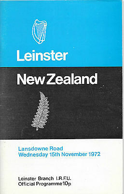 1972 - Leinster v New Zealand, Touring Match Programme.