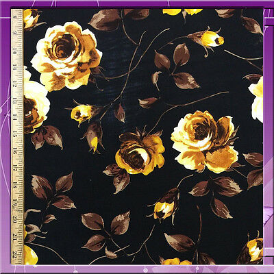 """100% Rayon Challis Flower / Floral Gold With Black Background 58"""" W Fabric Bty"""