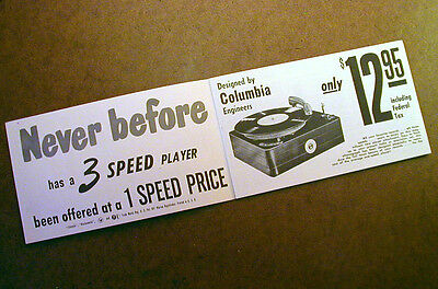 COLUMBIA 3 SPEED PHONOGRAPH Vintage Brochure Record Player Ad