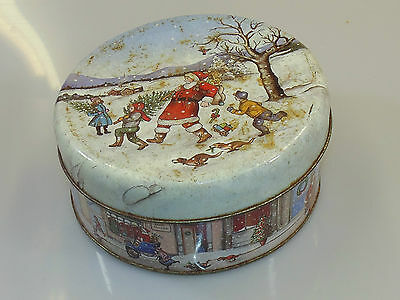 Vintage Christmas Collection Metal Sweet Biscuit Tin Collectable
