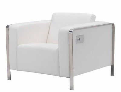 Stylish Modern White Smooth Leatherette Fabric Arm Chair w/USB Charging Ports