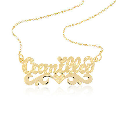 Personalized Sterling Silver 925 14k Gold Fancy Name Plate Necklace * Free chain