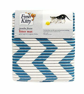 Fresh Kitty Litter Trapper Mat - Blue Chevron