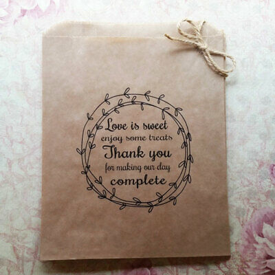 Love is Sweet complete Kraft brown Paper Candy Buffet Lolly Bags x 50