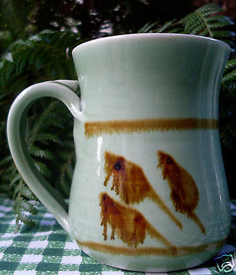 SIGNED Handcrafted (1) ABSTRACT LEAF MICE Unique POTTERY MUG Kitchen - In Aust