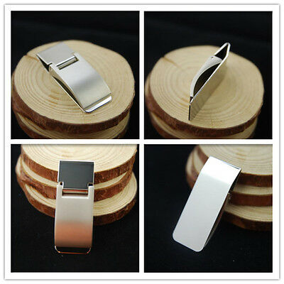 Money Clip Stainless Steel Card Holder Mens Womens Wallet Silver Solid Polished