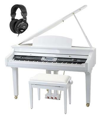 88 Hammer Action Keys Digital Grand Piano Keyboard Usb Sd Headphones Bench Set