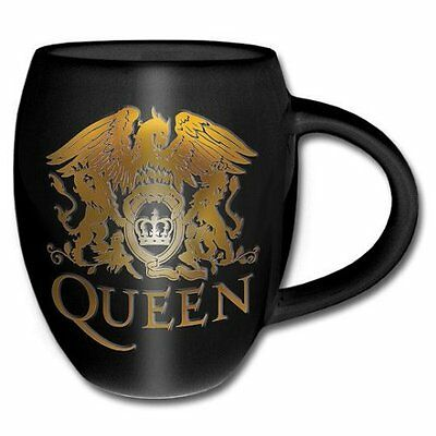 Freddie Mercury Queen Band Crest Badge Logo Black Gold Coffee Mug Cup Official