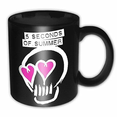 5 Seconds Of Summer Band Skull Black Pink Logo Coffee Tea Mug Cup Boxed Official